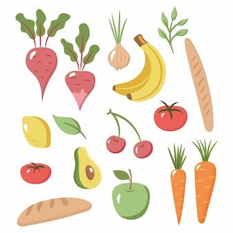 新鮮で健康的な野菜、果物、食料品のセットです。フラットなデザイン。有機農場のイラスト。健康的なライフスタイルのデザイン要素。