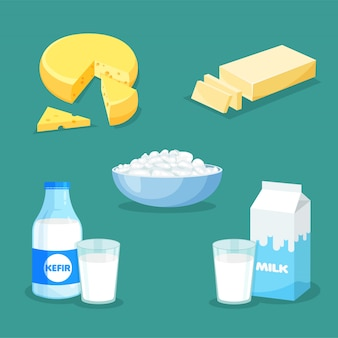 新鮮な天然乳製品のセットです。トレンディなフラットスタイルのベクトルミルク、バター、チーズ、ケフィア、カッテージチーズ。分離された農産物