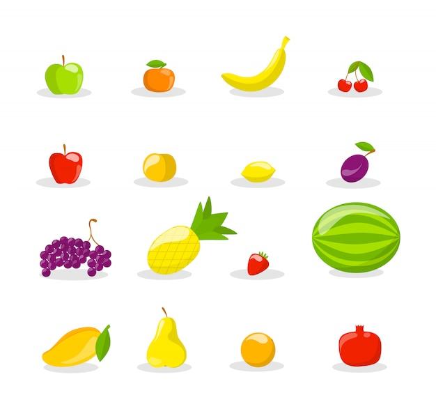 Набор свежих вкусных фруктов. вкусное яблоко, банан и гранат. здоровая пища. иллюстрация