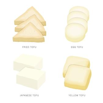 豆腐と豆腐のスライスのセットです。有機的で健康的な食品は、要素の図を分離しました。