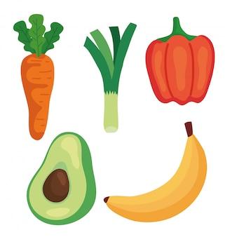 Набор свежих овощей и фруктов, концепция здорового питания