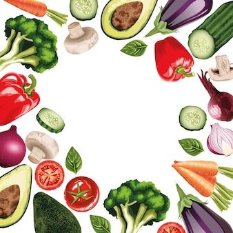 フレームの周りの新鮮な野菜のセット