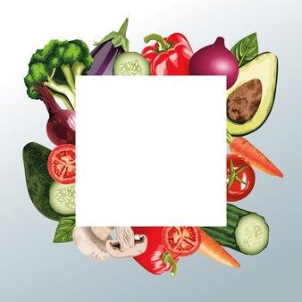 正方形のフレームの新鮮な野菜のセット