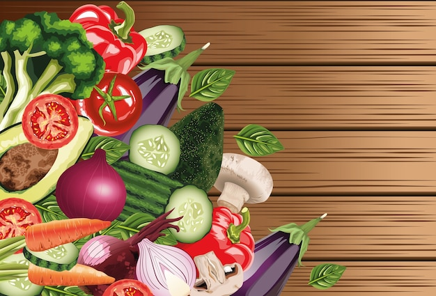 Набор свежих овощей в деревянных фоне