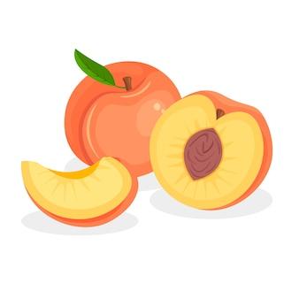 Набор свежих целых, половинных, отрезанных ломтиков и кусочков персика, изолированные на белом фоне. иконы веганской еды в модном мультяшном стиле. здоровая концепция.