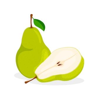 新鮮な全体、半分、カットスライスと白い背景で隔離の梨の部分のセット。トレンディな漫画スタイルのビーガンフードアイコン。健康的なコンセプト。