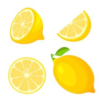 新鮮な全体、半分のセットは、白い背景で隔離のレモンのスライスをカットしました。柑橘系の果物と葉。トレンディな漫画のスタイルのビーガンフードアイコン。健康食品のコンセプトです。