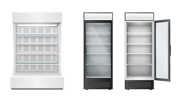 유리문이 있는 슈퍼마켓이나 식료품점용 냉장고 세트와 제품 보관 및 전시용 셀프. 현실적인 냉장고. 3d 벡터 일러스트 레이 션