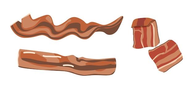 Набор жареных ломтиков бекона, тонких полосок, вкусной еды на завтрак. рашеры, копченая жирная свинина, изолированные на белом фоне. грудинка или ветчина, вкусная закуска. векторные иллюстрации шаржа, клипарт