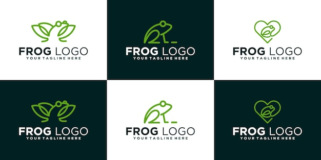 Набор логотипов дизайна животных лягушка в стиле арт-линии