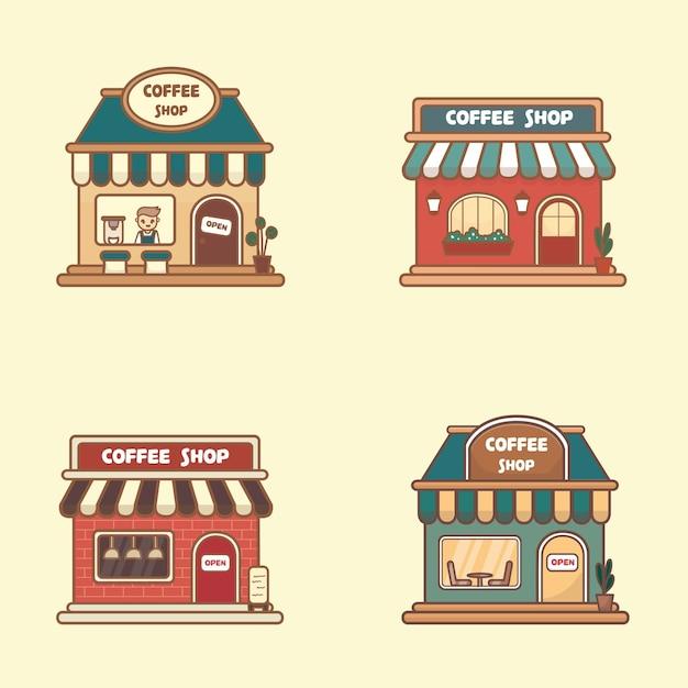 전면 보기 벡터 평면 디자인 커피숍, 카페, 레스토랑 아이콘 및 상점 정면의 집합입니다. 귀여운 카와이 스타일