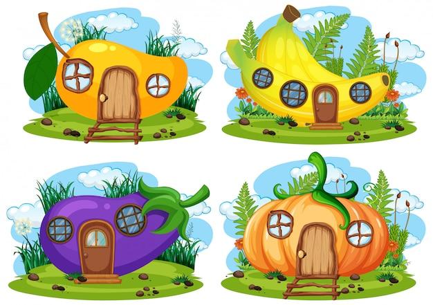 果物と野菜の妖精の家のセット Premiumベクター