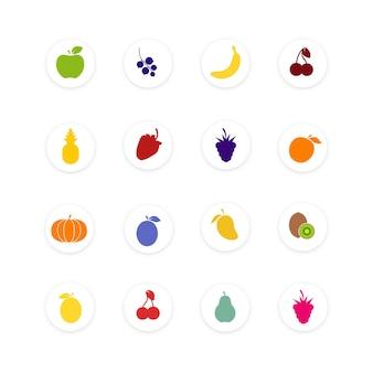 フルーツのセットは、白い背景で隔離。健康食品コレクション。さまざまなフルーツやベリーのフラットスタイルのアイコン。ベクトルイラスト