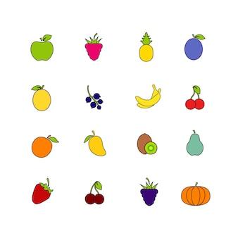 フルーツのセットは、白い背景で隔離。健康食品コレクション。ストロークイラスト付きフラットスタイル。さまざまな果物やベリーのアイコン。ベクター