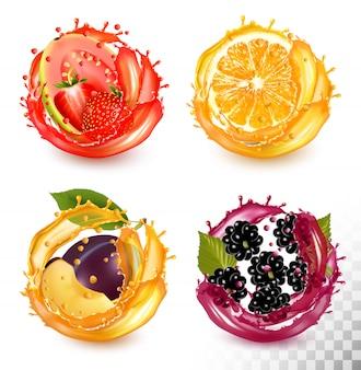 과일 주스 얼룩의 집합입니다. 딸기, 구아바, 오렌지, 자두, 블랙 베리.