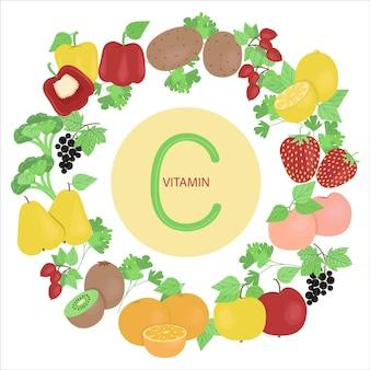 비타민 c를 포함하는 과일과 야채 세트 과일과 야채 벡터 일러스트 레이 션