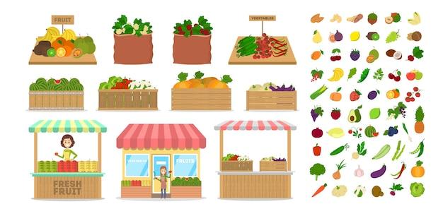果物と野菜のセットです。木製の箱に食べ物。健康食品のある市場。リンゴとジャガイモ、大根とにんじん。分離フラットベクトルイラスト