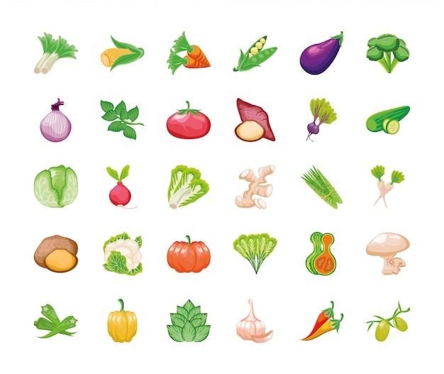 Набор фруктов и овощей свежих