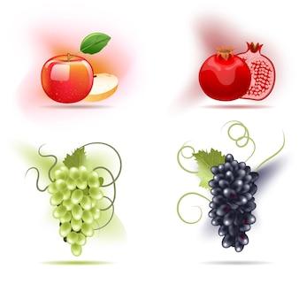 과일, 사과, 석류, 포도 세트.