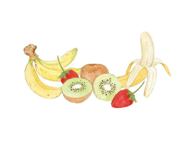 과일 바나나 키위와 딸기 세트