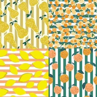 ストライプの背景に果物のシームレスなパターンのセットです。チェリーベリー、リンゴ、レモン、葉の手描きの壁紙。背景に面白い甘い庭の果物。ベクトルイラスト。
