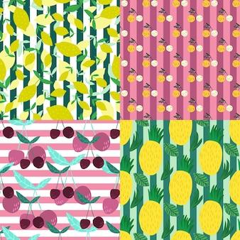 ストライプの背景に果物のシームレスなパターンのセットです。チェリーベリー、パイナップル、レモン、葉の手描きの壁紙。背景に面白い甘い庭の果物。ベクトルイラスト。