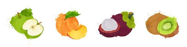 Набор фруктов акварель стиль векторные иллюстрации
