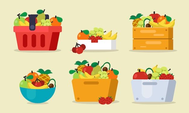 バスケット、バッグ、木製ボックス、キャストベクトル図と果物のセット
