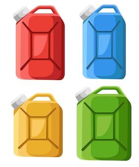 燃料キャニスターアイコンのセットです。燃料容器ジェリカン。カラフルなガソリンキャニスター。スタイル。白い背景の上の図