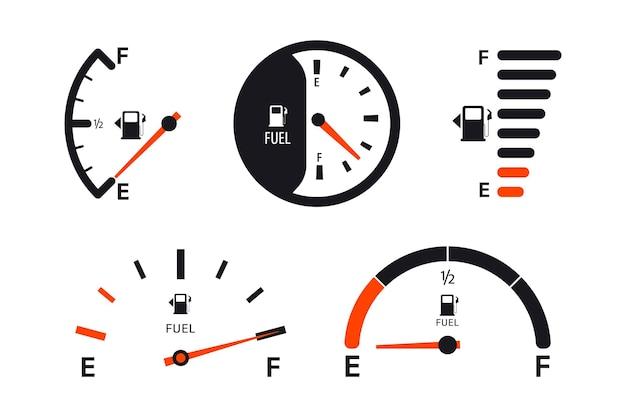 연료 게이지 스케일 세트입니다. 연료 미터. 연료 표시기. 가스 탱크 게이지. 오일 레벨 탱크 바 미터. 흰색 바탕에 컬렉션 연료 게이지 속도계
