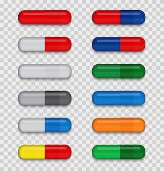 Набор полноцветных медицинских таблеток на прозрачном фоне.