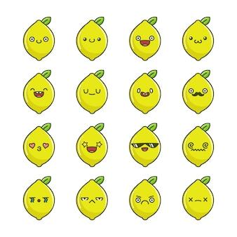 楽しいカワイイレモンフルーツ漫画のセット