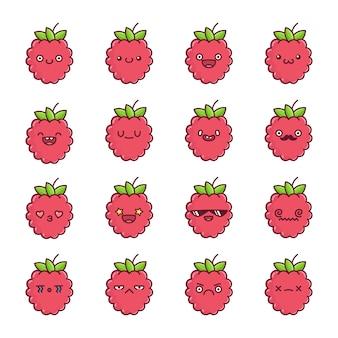 楽しいかわいいラズベリーフルーツ漫画のセット