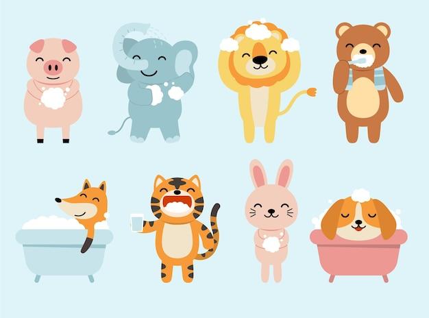 욕실, 목욕, 샤워에 재미있는 동물의 집합입니다. 토끼, 여우, 개, 사자, 코끼리, 돼지, 만화 스타일의 곰. 무료 벡터
