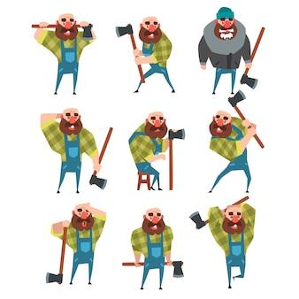 さまざまなポーズで面白いハゲ木こりのセットです。漫画の斧でひげを生やした男。青いつなぎ服、ヒップスターの格子縞のシャツ、暖かいジャケット、帽子のウッドカッター。フラットデザイン