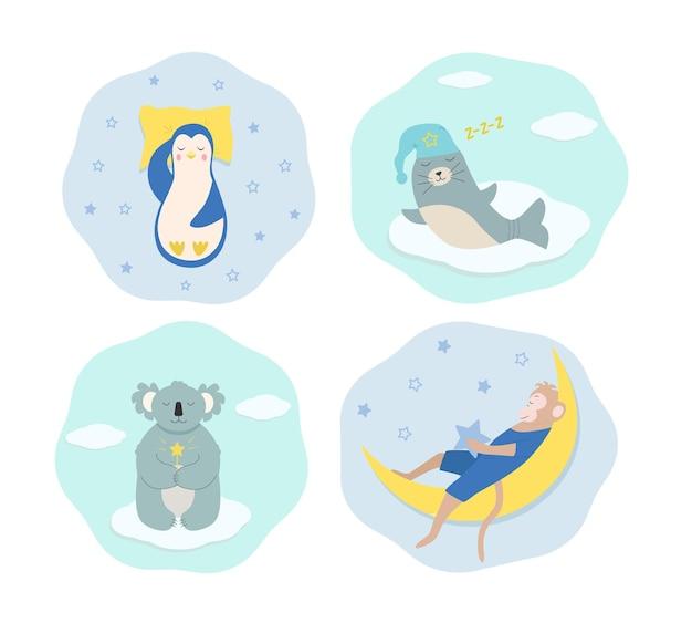 眠って夢を見ている面白い漫画の動物のセットです。ペンギンは枕の上で眠り、寝酒を封印し、猿は月の上で眠り、コアラは魔法の杖を持っています。