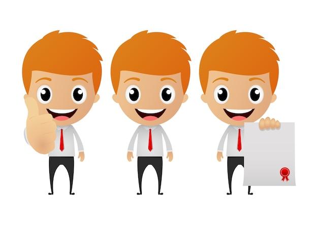 Набор забавный мультфильм бизнесмен