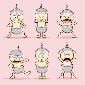 面白い漫画のキャラクターのセット