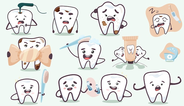面白い漫画の歯のセット