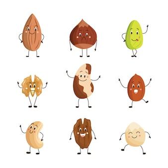 面白い漫画のさまざまなナッツのキャラクターのセット、白い背景で隔離。ベジタリアンの健康的なプロテインナッツスナック絵文字コレクション。