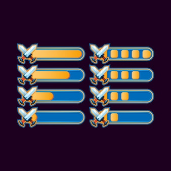 Набор забавных случайных полосок прогресса для элементов пользовательского интерфейса игры