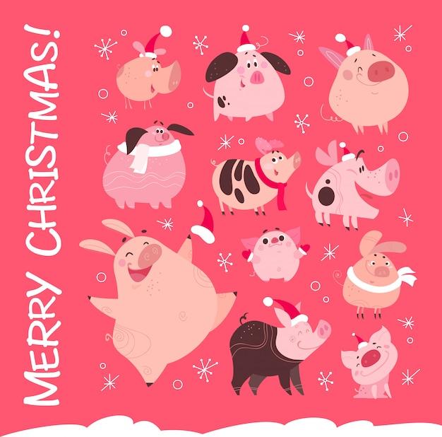 ピンクの雪に覆われた背景に分離されたサンタ帽子で面白いクリスマスフラット別豚キャラクターのセットです。フレンドリーな笑顔のピンクのポークのコレクション。年賀状、パターン、プリントなどに最適です。