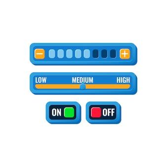켜기 끄기 버튼 및 진행 메뉴가있는 재미있는 다채로운 게임 ui 컨트롤 설정 패널 세트