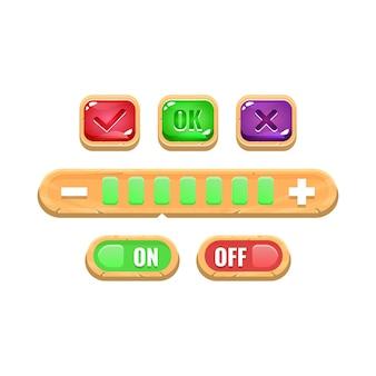 面白いカラフルな木製ゲームuiのオンとオフのボタンとコントロール設定のセット