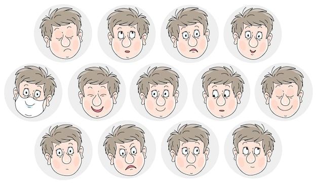 悲しそうな笑顔とさまざまな感情を持つ他の多くの顔を持つ楽観的で陽気な男の子の面白い絵文字のセットは、白い背景の上の漫画イラストをベクトルします
