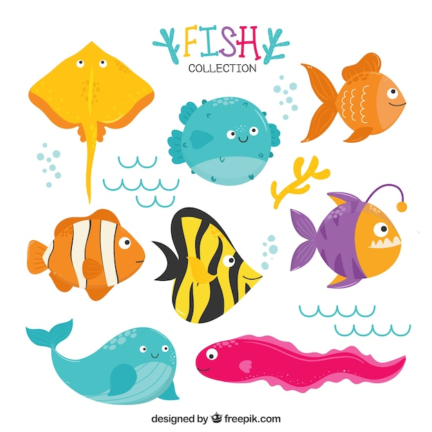 Download Free Set Of Funny Fish Svg Dxf Eps Png Cut File Icon Download