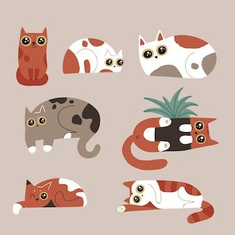 面白いユーモア猫のキャラクターのセット