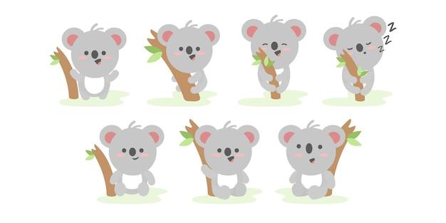 さまざまなアクションとポーズのイラスト漫画のキャラクターで面白いコアラのセット