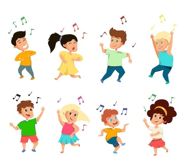 白い背景の上の面白い小さな歌う子供たちのセット