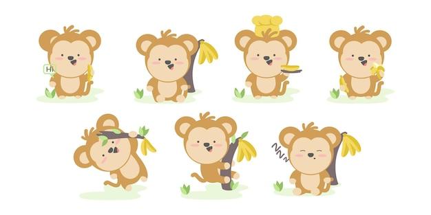 さまざまなアクションとポーズの面白い猿のセットイラスト漫画のキャラクター